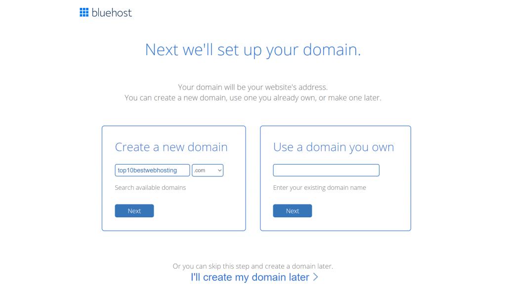 bluehost domain reg